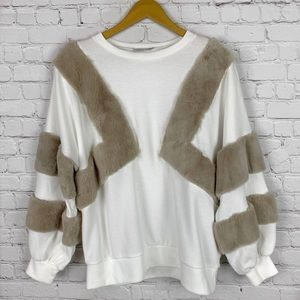 ZARA Plush Sleeve Sweater Small